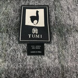 New Tumi Alpaca Fringe Blanket Throw Grey Plaid